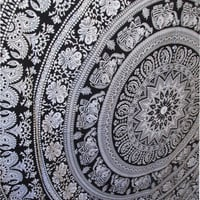 Mandala Tapestry,Hippie Bedding Large Floral Barmeri Tapestry, Coverlet Sheet Wall Hanging Elephant Tapestry
