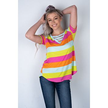 Fuchsia and Lime Striped Top with ladder neckline