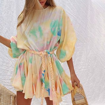 Women's Personalized Tie-Dye Printed Loose Hedging Strap Fashion Pleated A-line Skirt Dress