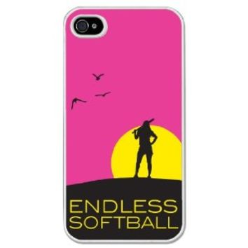 Endless Softball iPhone Case (iPhone 4/4S) with Neon Pink Background