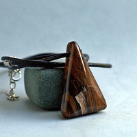 Mahogany Obsidian amulet stone fashion jewelry pendant with leather necklace