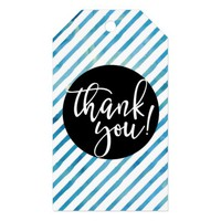 Blue Watercolor Stripes Thank You Gift Tags