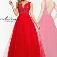 Milano Formals Two Straps Beaded Dress E1912
