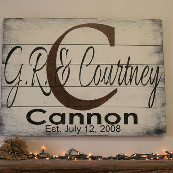 Name Sign Initial Sign Pallet Sign Wedding Gift Bridal Shower Gift Housewarming Gift Anniversary Gift Personalized Name Sign Distressed Wood