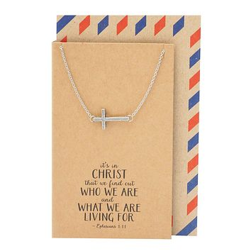 Clio Cross Necklaces for Women Bible Quotes Inspired Sideways Cross Jewelry