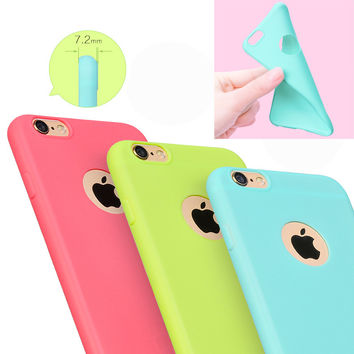 Luxury Soft TPU Silicon Back Cover For iPhone 7 Transparent Candy Colors Phone Cases For iPhone 6 6s 5 5s SE 7 Plus Coque Capa