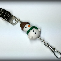 Snowman Portuguese Knitting Pin- Clip on