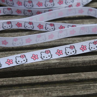 """5 Yards of Hello Kitty Ribbon 3/8"""" wide for card making,hair bows,scrapbooks,gift wrap"""