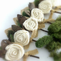 Boutonnière Groom ,Rustic Burlap Flower w/ Moss,  Country Wedding, Shabby Chic  MADE TO ORDER