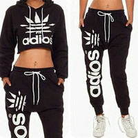 2015 New Sport Suits Women's Crop Top Sweatshirt+Pants 2Pcs/Lot Adios Print Tracksuit Woman Active Hoodies Sweatshirt Tracksuits