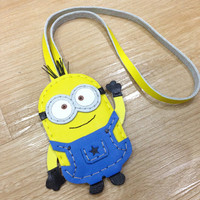 Inspired Cartoon Character - Despicable Dave the Minion Handmade Leather Charm with strap ( Yellow / Blue )