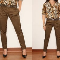 Brown Cigarette Pants Slim Fit Skinny Trousers for Women Office Fashion