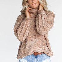 Very Happy Camel Chenille Turtleneck Sweater