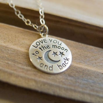Love You To The Moon and Back Sterling Silver Necklace for Mom