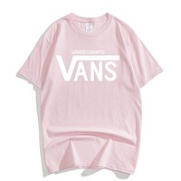 Vans Summer New Fashion Letter Print Women Men Leisure Top T-Shirt Pink