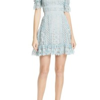 Self-Portrait Puff Sleeve Guipure Lace Dress   Nordstrom