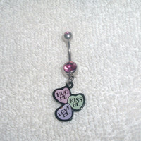 Hug Kiss Love Me Belly Navel Ring Jewelry Body Piercings Stainless Steel Double CZ Pink Stone