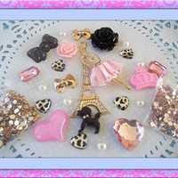 DIY 3d alloy rhinestone bling eiffel tower ballerina light pink kawaii decoden cell phone deco kit