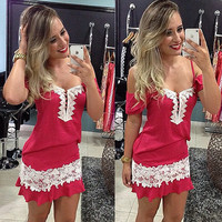 Hot Sale Strapless Red Spaghetti Strap Lace Sexy One Piece Dress [11545798799]