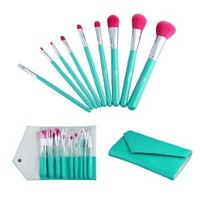 HOT Ovonni® 9pcs Superior Professional Soft Cosmetic Makeup Brush Set with Red nylon hair, Lake green wooden handle + Leather Bag