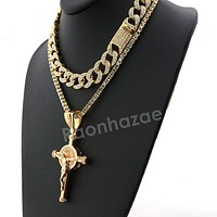 Hip Hop Quavo Cylinder Cross Miami Cuban Choker Chain Necklace L11