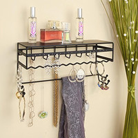 "Black 13.5"" Wall Mount Jewelry & Accessory Storage Rack Organizer Shelf for Earrings, Bracelets, Necklaces, & Hair Accessories"