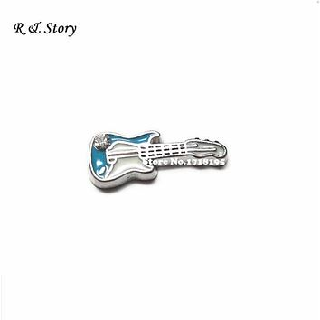 Alloy Metal Music Blue Guitar Floating Charms for Memory Glass Living Lockets LFC_1345