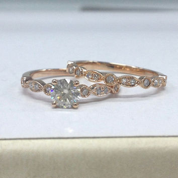 IN STOCK!Diamond Wedding Ring Set,Moissanite Engagement Ring 14K Rose Gold,5mm Round Cut Moissanite,Art Deco Antique,Stackable Matching Band