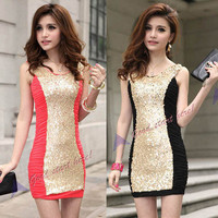 New Luxury Women Formal Party Sexy Sequin Mini Dress Clubwear Homecoming Short D