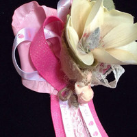 Baby shower corsage, shabby chic theme
