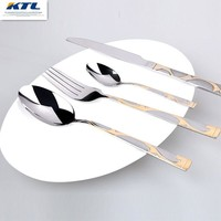 KTL 24 pcs Golden Inlay dinnerware set top quality stainless steel Dinner knife and fork and  teaspoon cutlery set