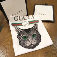 "Hot Sale ""Gucci"" Summer Fashion Women Loose Cat Print Short Sleeve T-Shirt Top I"