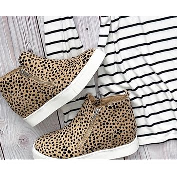 Spotted Animal Print Wedge Sneakers