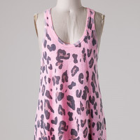 Leopard Print Racer Back Tank Top - Soft Pink and Gray