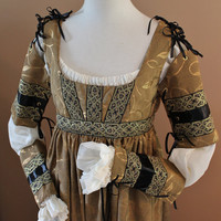 Custom Made Golden Leaf Italian Dress Renaissance Medieval Game of Thrones Tudor Gown