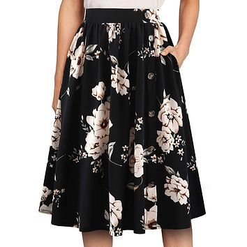 YATHON Women's Vintage Button Pleated Floral Flared Swing Casual Midi Skirts with Pockets
