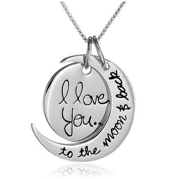 "Gold and Silver  ""I love you to the moon and back "" quote pendant FREE Shipping"