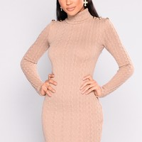 Penelope Cable Knit Dress - Taupe