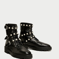 LEATHER ANKLE BOOTS WITH FAUX PEARLS