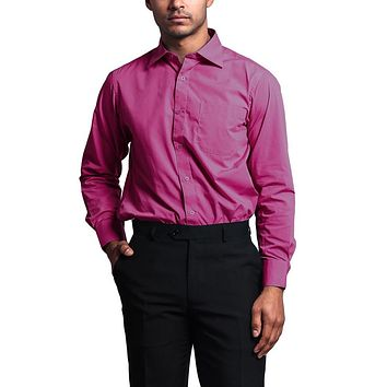 Regular Fit Long Sleeve Dress Shirt - Fuchsia