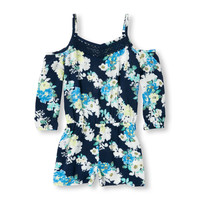 Girls Long Sleeve Floral Print Cold-Shoulder Woven Romper | The Children's Place