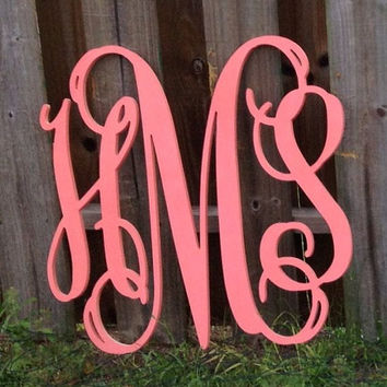 Painted Wooden Monogram - Monogram Wall Hanging - Wedding Monogram - Wooden Letters - Nursery Decor - Vine Script Wooden Monogram