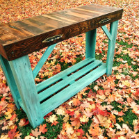 Aged Turquoise Reclaimed Wood Sofa Table  