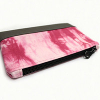 Pink Shibori Clutch, Boho Clutch Purse, Hand Dyed Purse, Summer Clutch, Fabric Leather Bag, Shibori Purse, Fabric Clutch Bag, Tie Dye Clutch