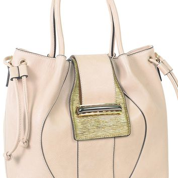 Beige Large Buckle Vegan Leather Womens Satchel Handbag Purse
