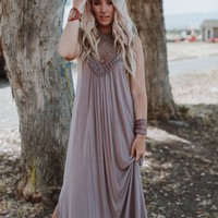 Cecily High Neck Maxi Dress - Taupe