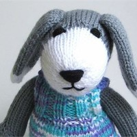 Stuffed Animal Dog Hand Knit Plush Doll Toddler Toy Gift for Baby Girl Nursery