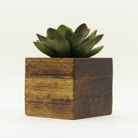 Small Wood Succulent Planter Pot, Modern Cube Plant Holder, Indoor Garden Planter, Cacti Planter, Office Planter, Rustic Planter, Home Decor