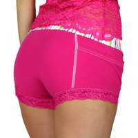 Fuchsia Women's Boxer Brief with Pockets | FOXERS Watercolors