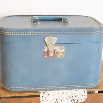 Suitcase Blue Train Cosmetics Case with Mirror Wedding Photo Prop
